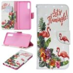 For Samsung Galaxy A70 Pattern Printing PU Leather Wallet Mobile Case – Flamingo