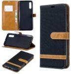 Two-tone Jean Cloth PU Leather Flip Case for Samsung Galaxy A70 – Black