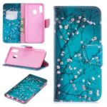 Pattern Printing PU Leather Flip Cover for Samsung Galaxy A20 / A30 – Tree with Flowers