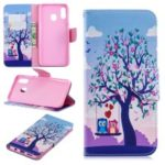 For Samsung Galaxy A20 / A30 Pattern Printing Leather Stand Wallet Case – Tree and Owls