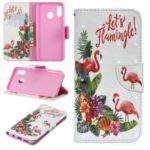 For Samsung Galaxy A30/A20 Pattern Printing PU Leather Wallet Cell Phone Cover – Flamingo