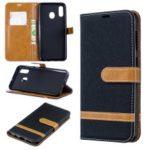Two-tone Jean Cloth PU Leather Flip Case for Samsung Galaxy A20 / A30 –  Black