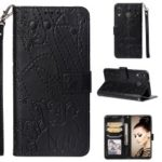 Imprinted Elephant Pattern Leather Wallet Case for Samsung Galaxy M20 – Black
