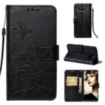 Imprinted Floral Butterfly Leather Wallet Case Cover for Samsung Galaxy S10 Plus – Black