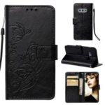 Imprinted Floral Butterfly Leather Flip Stand Shell for Samsung Galaxy S10e – Black