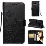 Imprinted Floral Butterfly Leather Protection Cell Phone Case for Samsung Galaxy S10 – Black
