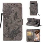 Imprint Butterfly Rose Flower Leather Wallet Flip Casing for Samsung Galaxy S10 Plus – Grey
