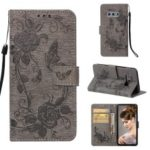 Imprint Butterfly Rose Flower Leather Wallet Mobile Cover for Samsung Galaxy S10e – Grey