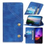 Jeans Cloth Leather Phone Cover with Wallet Stand for Sony Xperia 10 – Blue