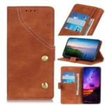 Jeans Cloth Leather Phone Cover with Wallet Stand for Sony Xperia 10 – Brown
