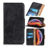 Crazy Horse Split Leather Wallet Stand Phone Case for LG V50 ThinQ 5G – Black