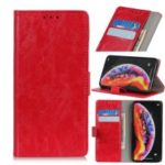 Crazy Horse Leather Wallet Phone Casing for LG V50 ThinQ 5G – Red