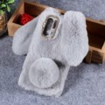 Rabbit Shape Fluffy Fur Coated Rhinestone TPU Case for Huawei P30 Pro – Light Grey