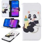 Pattern Printing Wallet Leather Stand Case for Huawei Honor 8A – Panda Holding a Bottle