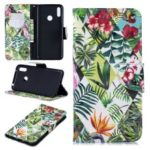 Pattern Printing Light Spot Decor Leather Wallet Case for Huawei Y7 (2019) – Leaves