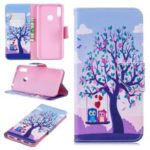 Pattern Printing Leather Wallet Case for Huawei Y7 (2019) – Tree and Owls