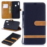Assorted Color Jeans Cloth Wallet Stand Leather Case for Huawei Y7 (2019) – Black