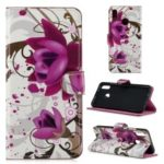 Pattern Printing Leather Wallet Case for Huawei Honor 10 Lite – Purple Flowers