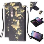 Pattern Printing Leather Wallet Case for Huawei P20 Pro – Gold Butterfly