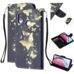 Pattern Printing Leather Wallet Case for Huawei P20 Lite / Nova 3e (China) – Gold Butterfly
