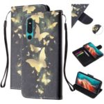 For Huawei P30 Pattern Printing Wallet Stand Leather Cell Phone Case with Strap – Gold Butterfly