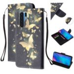 For Huawei P30 Pro Pattern Printing Wallet Stand Leather Flip Case with Strap – Gold Butterfly