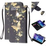 Pattern Printing Leather Wallet Case for Huawei Y6 (2018) – Gold Butterfly