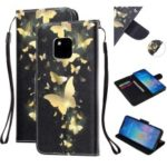 Pattern Printing Leather Wallet Case for Huawei Mate 20 Pro – Gold Butterfly