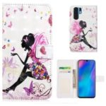 Embossment Pattern Printing Leather Wallet Case for Huawei P30 Pro – Butterfly Girl