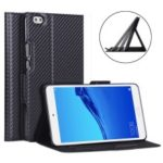 WY-1595A Carbon Fiber Texture PU Leather Stand Casing for Huawei Honor WaterPlay 8 inch D-02K (Japan) – Black