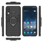 Finger Ring Kickstand PC + TPU Hybrid Mobile Phone Case for Huawei P30 Lite – Black