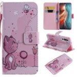 Pattern Printing Leather Wallet Stand Case for Huawei P30 – Cat and Flower