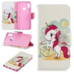 Pattern Printing Wallet Stand PU Leather Case for Y6 (2019)/Y6 Pro (2019)/Y6 Prime (2019) – Unicorn