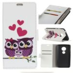 Pattern Printing [Wallet Stand] Leather Phone Case for Motorola Moto G7/G7 Plus – Sweet Owl Family