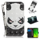 Pattern Printing Light Spot Decor Magnetic Leather Stand Case for Motorola Moto G7 Power – Panda Pattern