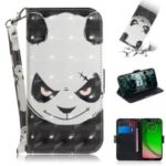 Pattern Printing Light Spot Decor Leather Wallet Case for Motorola Moto G7 Play – Panda Pattern