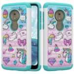 [Rhinestone Decor] Patterned PC TPU Phone Shell for Motorola Moto G7 Play (US Version) – Unicorn and Bowknot