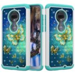 [Rhinestone Decor] Patterned PC TPU Combo Phone Casing for Motorola Moto G7 / G7 Plus – Gold Butterfly