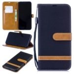 Two-tone Jean Cloth PU Leather Flip Case for Xiaomi Redmi Note 7 / Redmi Note 7 Pro (India) – Black