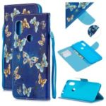 Pattern Printing Leather Wallet Case for Xiaomi Redmi Note 6 Pro – Blue Butterflies