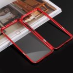 Detachable Magnetic Metal Frame + Tempered Glass Back Protection Cover for Xiaomi Redmi Note 7 / Note 7 Pro (India) – Red