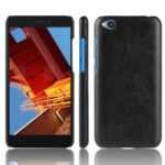Litchi Skin Leather Coated Hard PC Case for Xiaomi Redmi Go – Black