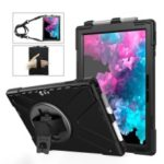 For Microsoft Surface Pro 6 5 4 [X-Shape] PC + TPU Combo Case / 360 Degree Swivel Kickstand / Hand Strap and Shoulder Strap – Black