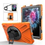 For Microsoft Surface Go [X-Shape] PC + TPU Combo 360 Degree Swivel Kickstand Case with Hand Strap and Shoulder Strap – Orange