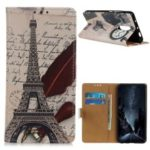 Pattern Printing Leather Wallet Stand Cover for OnePlus 7 – Eiffel Tower and Quill-pen