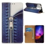 Pattern Printing Leather Wallet Stand Shell Cover for OnePlus 7 – Jeans Metal Zipper