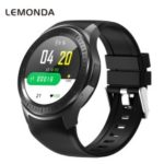 LEMONDA DM369 4G Smart Watch Android 7.1 MT6739 1GB+16GB Support WiFi GPS Heart Rate Monitor – Black