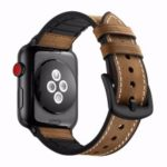 Cowhide Leather + Soft Silicone Watch Strap for Apple Watch Series 4 42mm, Series 3 / 2 / 1 38mm – Brown