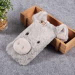 3D Cute Pig Pattern Soft Fur Coated Cover Rhinestone TPU Phone Case  for iPhone 6s – Light Grey