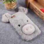 3D Cute Pig Pattern Soft Fur Coated Rhinestone TPU Phone Case Shell for iPhone 6s Plus – Light Grey